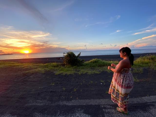 大久保浜の夕陽がきれい